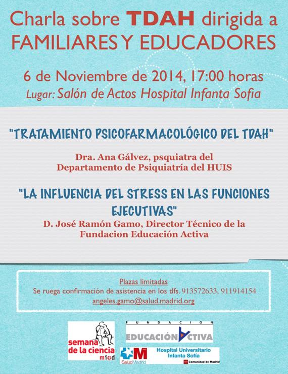 Madrid, 6 de Noviembre 2014. Charla sobre TDAH dirigida a familiares y educadores