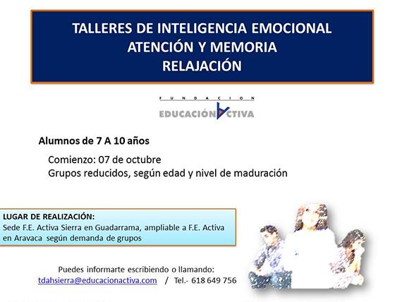Talleres de inteligencia emocional, atención y memoria y relajación